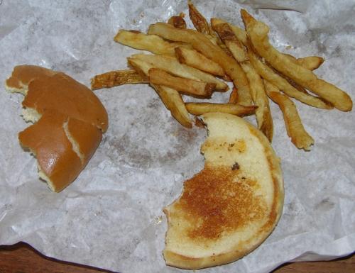 Burger bun and fries