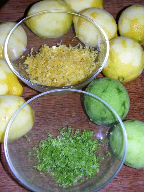 Zested lemons and limes