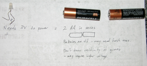Corran's note with LED and batteries