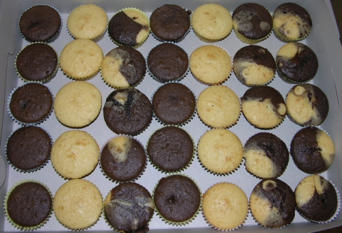 Naked cupcakes in the box.