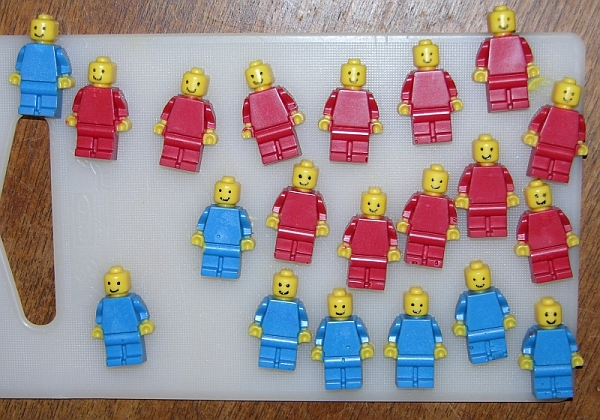 Adding faces to the chocolate Lego minifigs