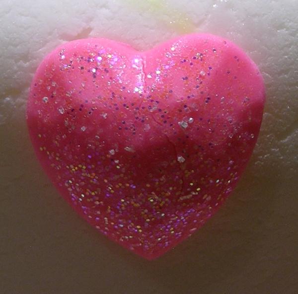 Disco dust on fondant heart
