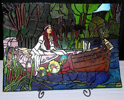 Unlit Lady of Shalott in Flexible, Edible Stained Glass