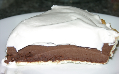 Chocolate pie with whipped cream on top