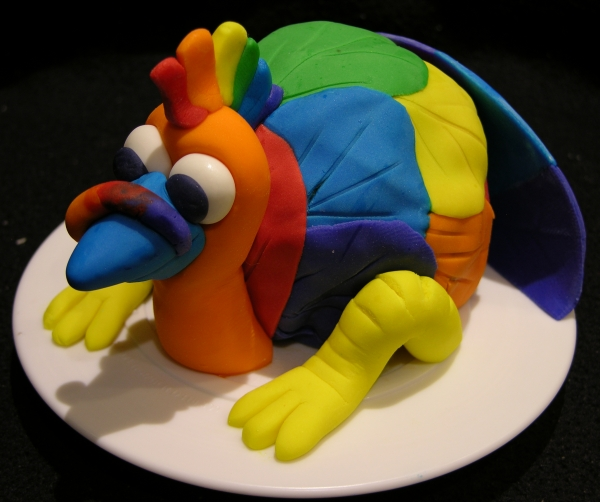 Rainbow Turkey Cake 3