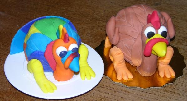 Rainbow Turkey Cake and Regular Turkey Cake