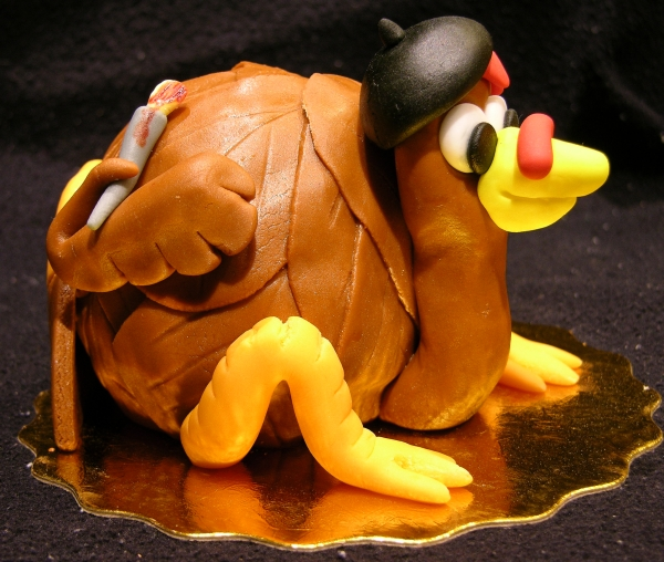 Turkey Artist Cake - Paintbrush Side