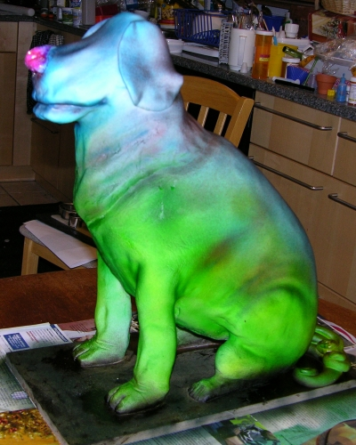 Dog Cake - In Progress - Airbrushed Side
