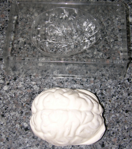white modelling chocolate molded as a brain