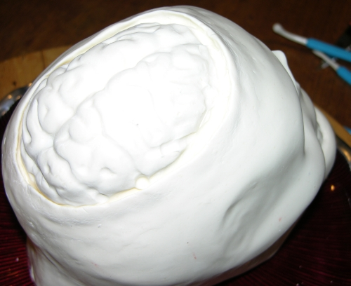 brain on top of skull cake