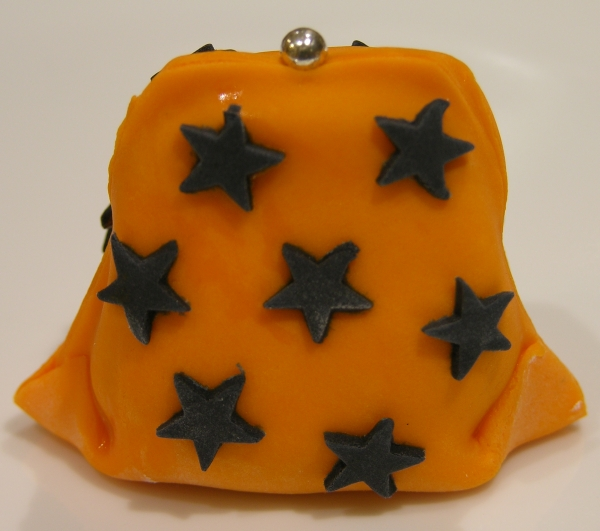 orange and black star purse