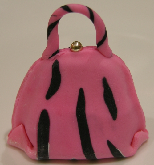 pink and black stripe purse