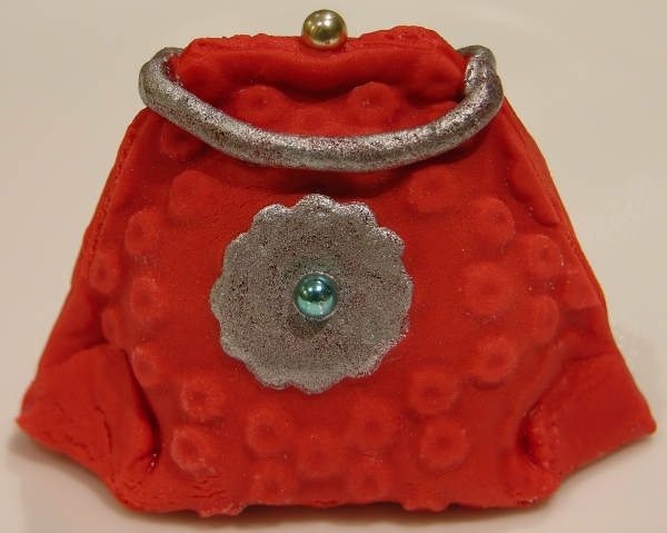 red silver flower purse