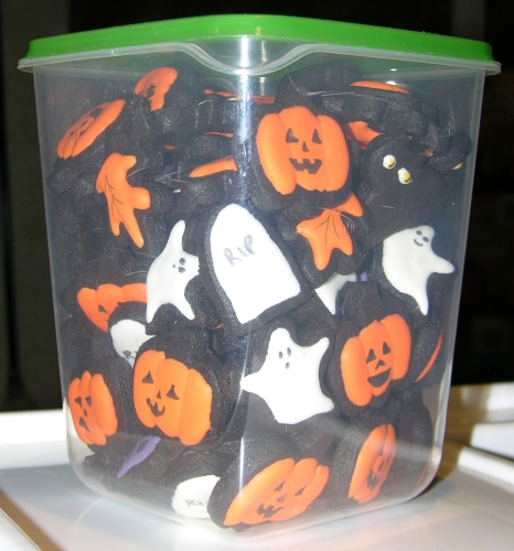 Halloween cookies in a tub