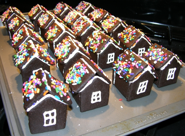 backs of chocolate cookie houses