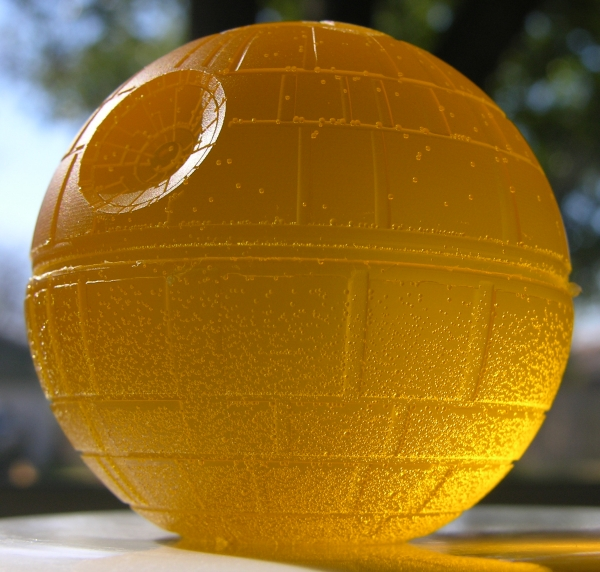 Death Star made out of yellow gummy candy