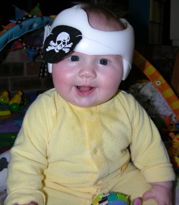 baby with a pirate patch