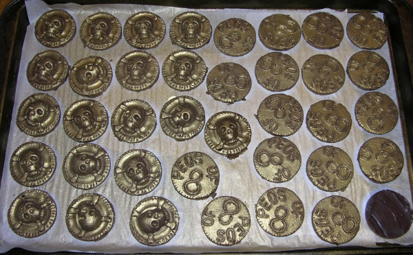 chocolate coins airbrushed gold