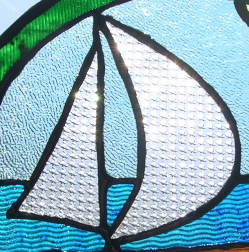 part of a sailboat made in the gummy stained glass technique