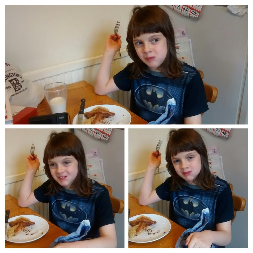 Peo eating pancakes